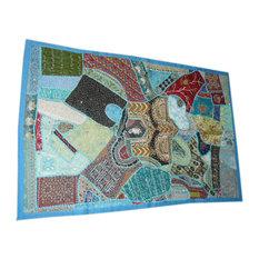 Mogul Interior - Vintage Sari Wall Hangings Blue Patchwork Tapestry - Tapestries