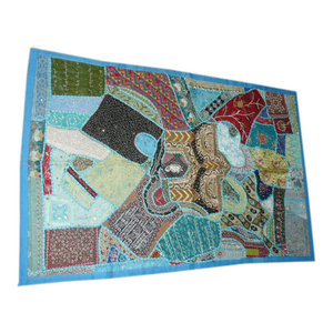 Mogul Interior - Vintage Sari Wall Hangings Blue Patchwork Tapestry - Tapestries