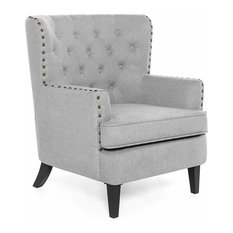 Wingback Accent Chair Espresso Wooden Legs With Grey Linen Nailhead Trim