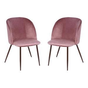 Poly and Bark Kantwell Velvet Dining Chair, Dusty Rose, Set of 2