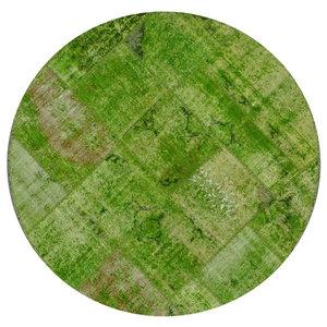 Vintage Patchwork Green Round Rug, 147 cm
