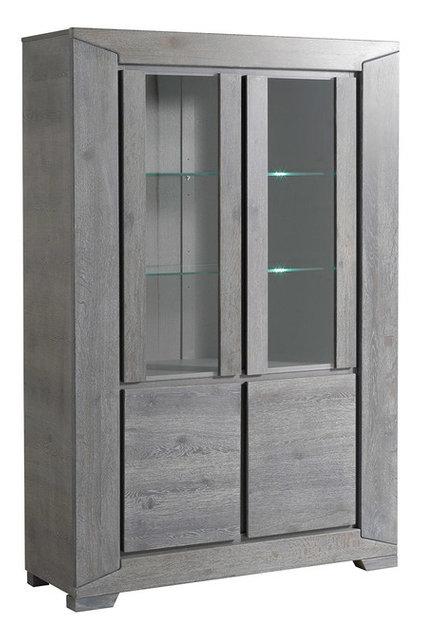 Titan Gray French Oak Glass Door Storage Cabinet Transitional