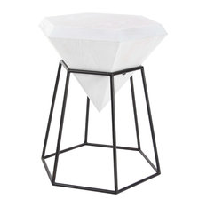 Brimfield U0026 May   Modern Diamond Shaped Wooden Accent Table, White With  Iron Frame