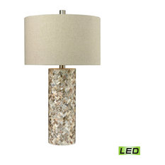 "29"" 9.5W 1 LED Table Lamp Natural Mother of Pearl Sand Linen"