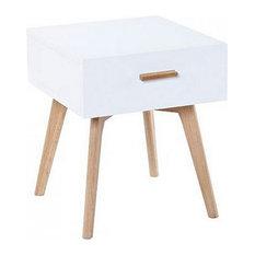 Scandinavian White and Oak Bedside Table