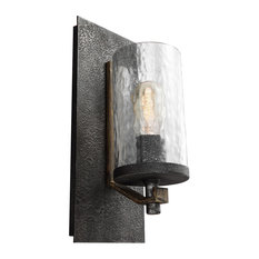 Feiss Angelo 1 Light Wall Sconce Distressed Weathered Oak Slate Gray Metal
