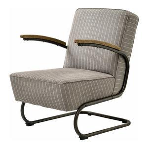 Irondale Miles Club Chair, Gray Stripe
