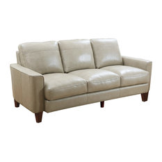 Landon Top Grain Leather Sofa, Beige