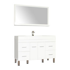 The Modern 47 inch Single Modern Bathroom Vanity in White without Mirror