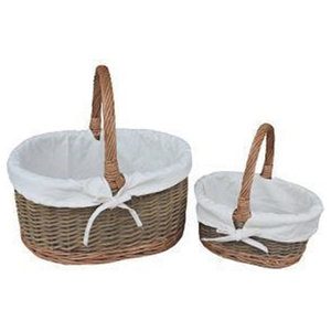 White Lined Country Oval Wicker Shopping Baskets, Set of 2