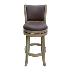"29"" Toledo Wire-brush Swivel Stool, Weathered White"