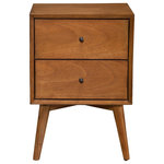 Alpine Furniture - Alpine Furniture Flynn Mid Century 2 Drawer Wood Nightstand in Acorn Brown - The Flynn collection features the classic lines of Mid-Century Modern furniture that never goes out of style.  Its sturdy frames are built to last, constructed of sustainability and sourced with solid Mahogany to ensure a lifetime of use.  The Flynn nightstand features 2 drawers to provide storage for your bedroom necessities. Case pieces provide a roomy storage solution and make it easy to create a cohesive decorating style or mix and match for a more personalized look.  Available in an Acorn or White finish.