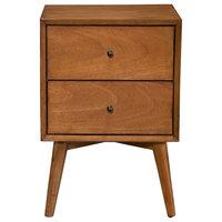 Alpine Furniture Flynn Mid Century 2 Drawer Wood Nightstand in Acorn Brown