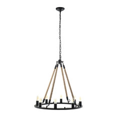 Encircle Rope and Steel Chandelier, Black