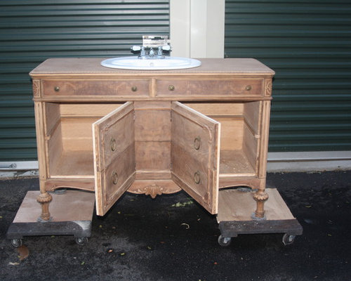 Vintage Dresser Converted Into Bathroom Vanity