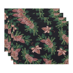 """Greenery 18""""x14"""" Black Holiday Print Placemat, Set of 4"""