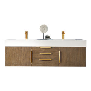 "Mercer Island 59"" Double Vanity Latte Oak Radiant Gold w White Solid Surface Top"