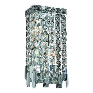 "2-Lights Chrome Finish W6/"" x H12/"" Crystal Wall Sconce Light Square Shape"