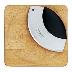 Wusthof 2 Piece High Carbon Stainless Steel Mezzaluna and Cutting Board Set