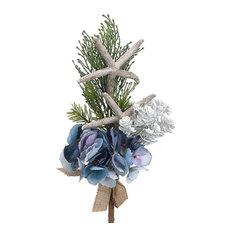 "14"" Hydrangea/Starfish/Pine Spray Blue Green"