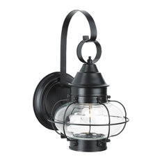 Cottage Onion Small Wall 1-Light, Black With Clear Glass