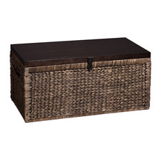 southern enterprises hector water hyacinth storage trunk blackwashed and espresso decorative trunks - Decorative Storage Trunks