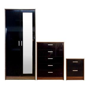Khabat Bedroom Furniture Mirrored Set, Black and Walnut