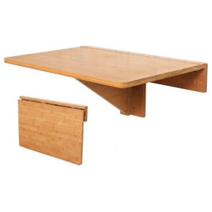 Folding Wall-Mounted Table in Natural Bamboo, Drop-Leaf Design for Space Saving