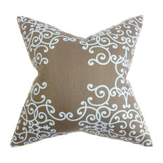 "Fianna Floral Pillow Brown Aqua 18""x18"""