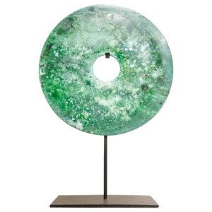 Turquoise Jade Bi-Disc Ornament, 20 Cm