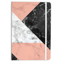 """Kess Original """"Geo Marble and Coral"""" Black Art Deco Everything Notebook"""