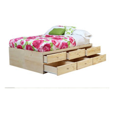 Queen Storage Bed, 12 Drawers, Unfinished