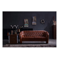 Industrial Aviation Whisky Faux Leather Sofa, Brown, 3-Seater