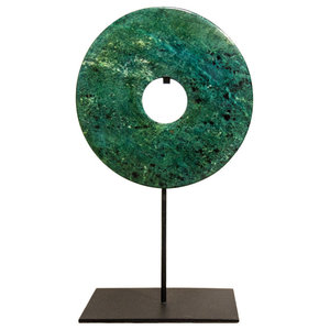 Dark Green Jade Bi-Disc Ornament, 20