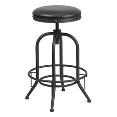Kings Leather Swivel Counter Stool