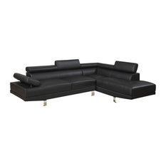 Faux Leather Sectional Sofa Black - Sectional Sofas  sc 1 st  Houzz : sectional modern - Sectionals, Sofas & Couches
