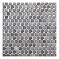 """12""""x12"""" Gradient Gray Penny Round Mosaic Tile"""