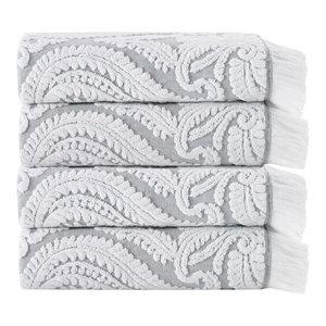 Laina 4-Piece Turkish Cotton Towel Set, Silver