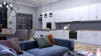 Дизайн загородного дома . Гостиная/кухня/столовая зона/каминная зона.