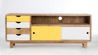 Meuble tv inspiration scandinave 4 tiroirs 2 portes
