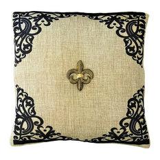 Gold Fleur di Lis French Style Tan Pillow Set