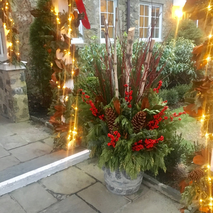 Holiday Planters at Front Door