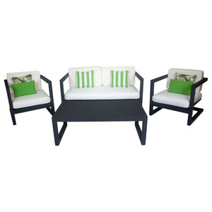 Outdoor 4-Piece Alhama Furniture Set With 2-Seater Sofa, Anthracite