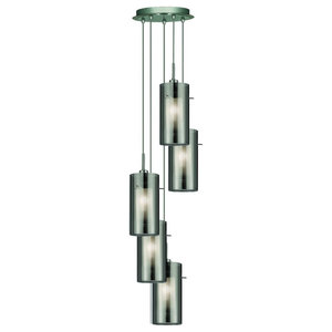 Duo 5-Light Pendant, Smokey and Clear Glass