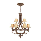 Tuscan Nine Light Up Lighting Two Tier Chandelier