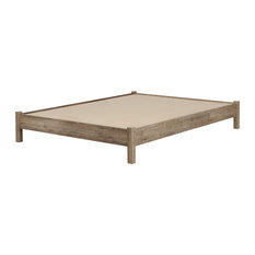 South Shore Furniture - South Shore Munich Queen Platform Bed, 60'' on Legs, Weathered Oak - Platform Beds