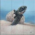 """The Tile Mural Store (USA) - Ceramic Tile Mural, The Hatchling, GD, by Garrett DeChellis - *9 Tile Mural on 4 1/4"""" ceramic satin finish tiles.  AMERICAN MADE !!"""