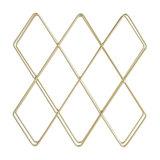 Contemporary 10-Bottle Wine Rack, Gold Brushed Metal, Simple Geometric Design