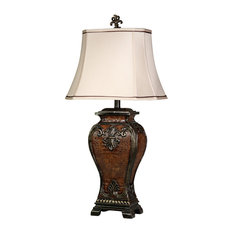 Dundee Table Lamp, Faux Crocodile Hide + Gold Highlighted Finish, Cream Shade