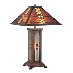 Table Lamp, D Brz Tiffany ShadeandNight Lite, Cfl 13X2 and C 7W